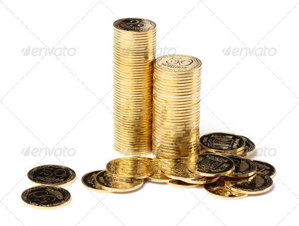 Closeup Of A Golden Coins - Stock Photo - Images