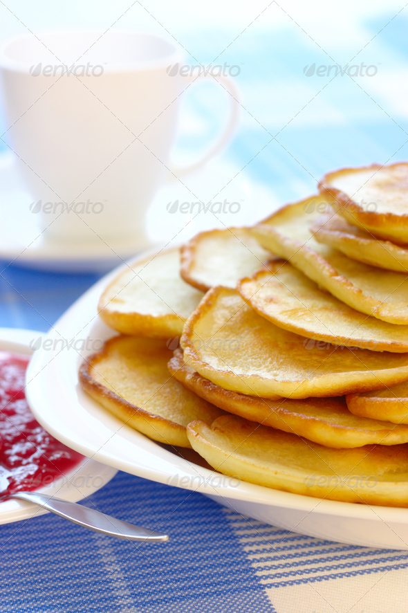 Small Pancakes - Traditional Russian Cuisine - Stock Photo - Images