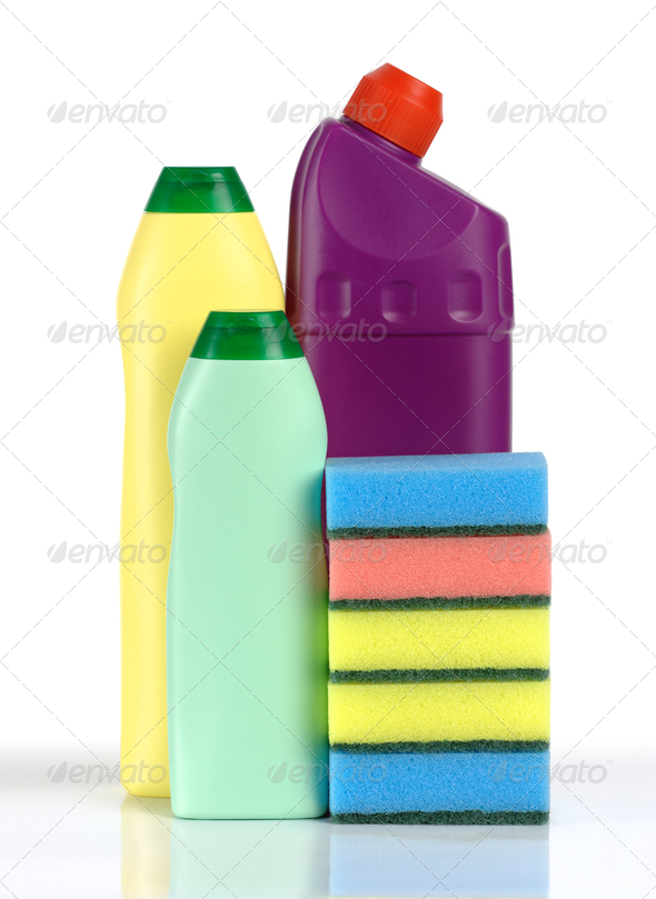 Cleaning Liquids And Sponges - Stock Photo - Images