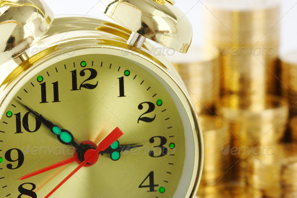 Time Is Money - Clock Dial And Golden Coins - Stock Photo - Images