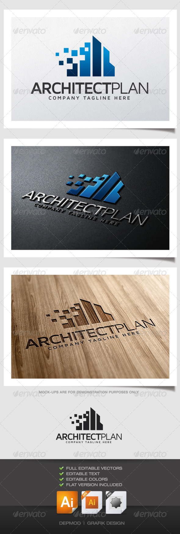 Architect Plan Logo - Buildings Logo Templates
