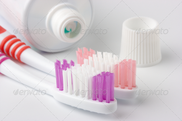 Two Toothbrushes And Toothpaste - Stock Photo - Images