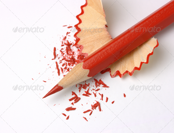 Sharpened Red Crayon On Shavings - Stock Photo - Images