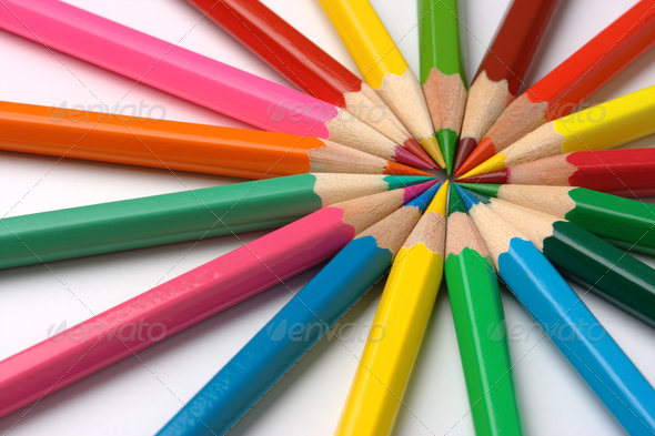 Colorful Crayons Arranged In Circle - Stock Photo - Images
