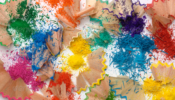 Multi-Colored Crayons Shavings - Stock Photo - Images