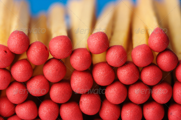 Red Matchsticks On Blue Background - Stock Photo - Images