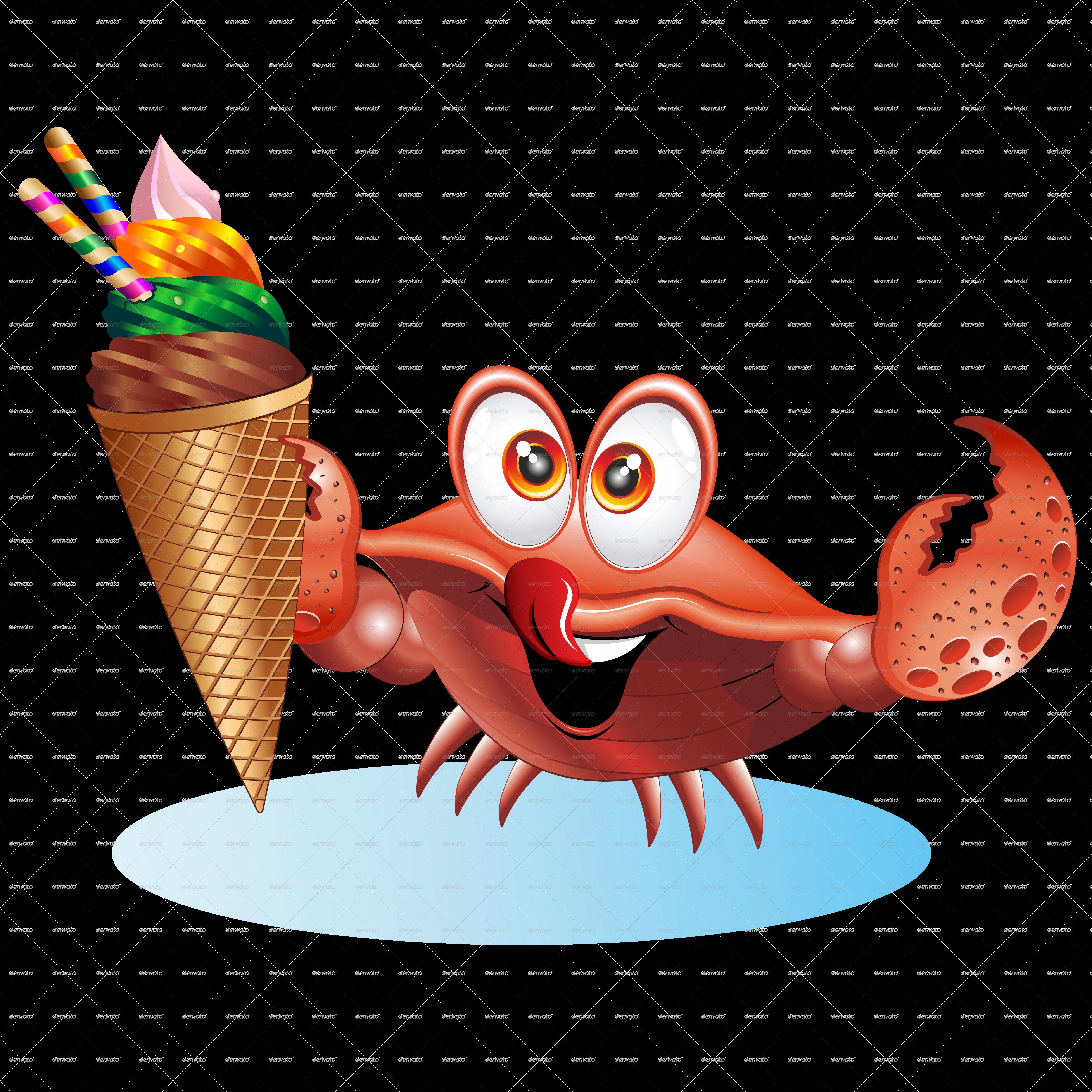 crab cartoon with ice cream by bluedarkat graphicriver