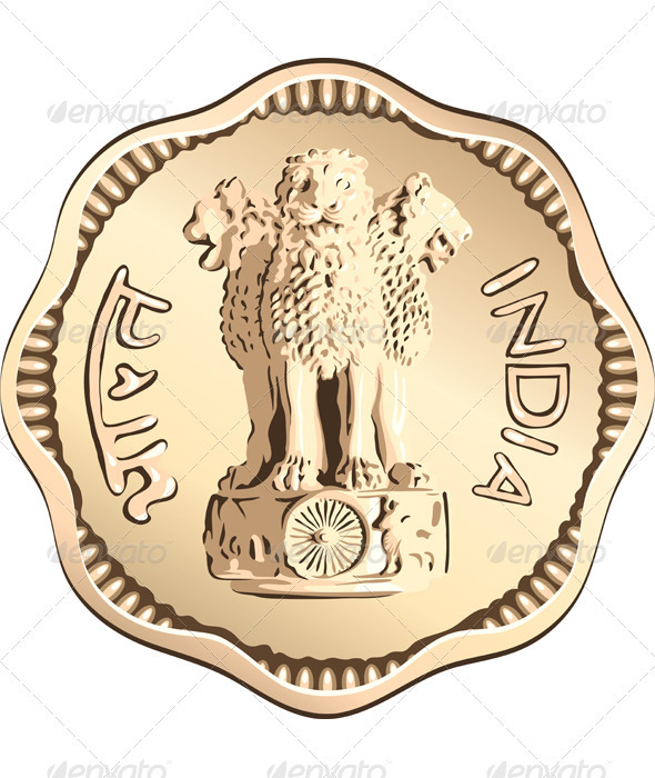 Vector Indian money coin with lions - Man-made Objects Objects