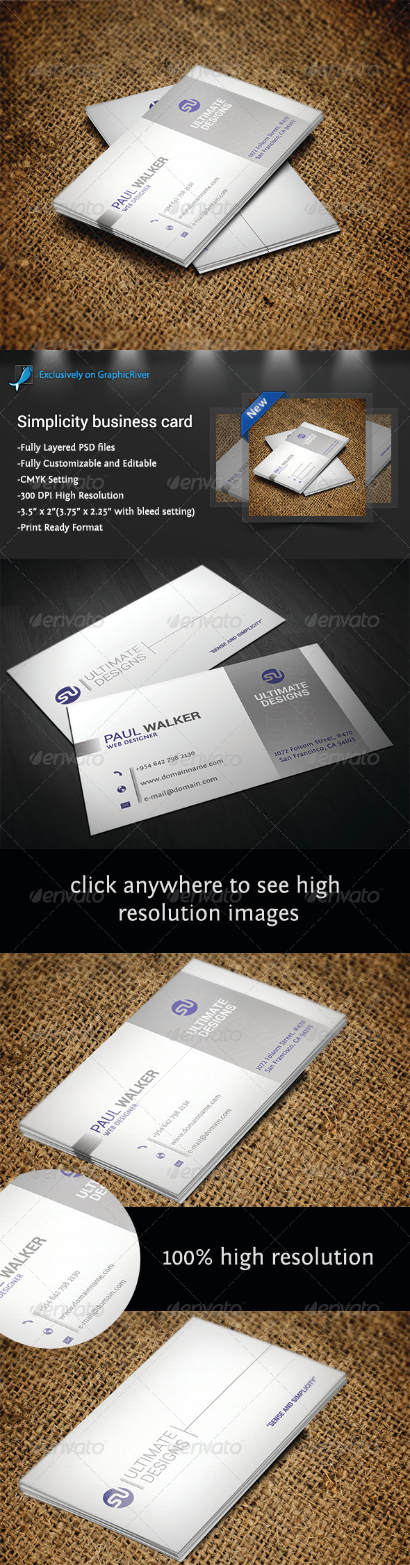 Simplicity Business Card - Business Cards Print Templates