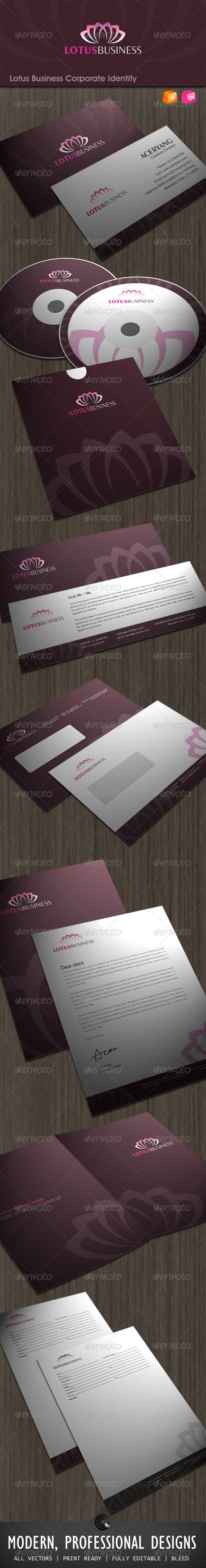 Lotus Business Corporate Identity - Stationery Print Templates
