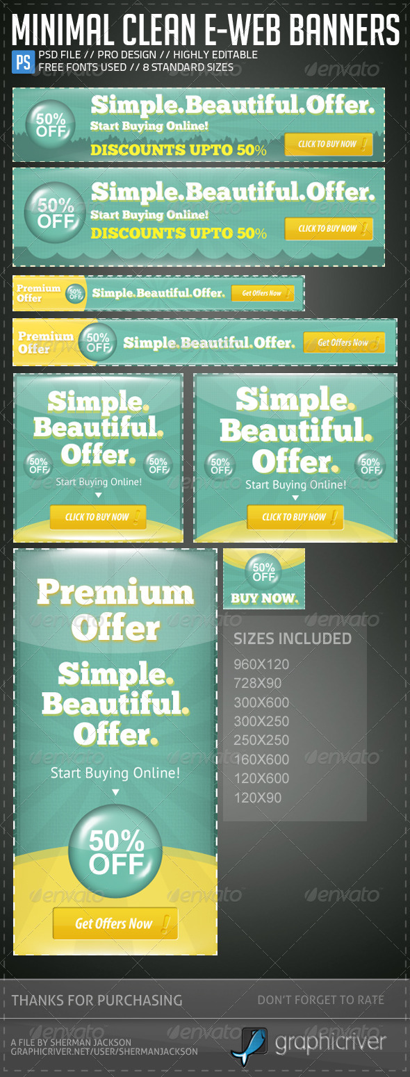 Minimal Clean E-Web Banners & Ads - Banners & Ads Web Elements
