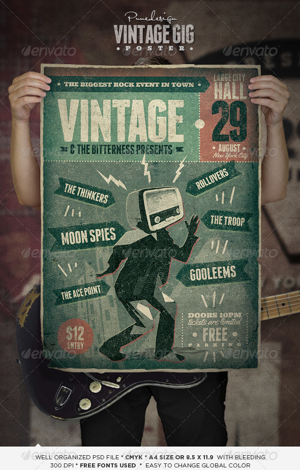 Vintage GIG Poster - Concerts Events