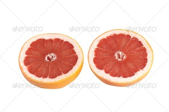 Juicy pieces of grapefruit on a white. - Stock Photo - Images