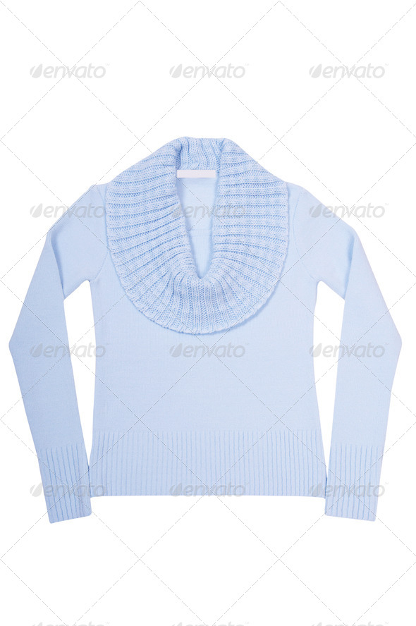 Modern blue sweater on a white. - Stock Photo - Images