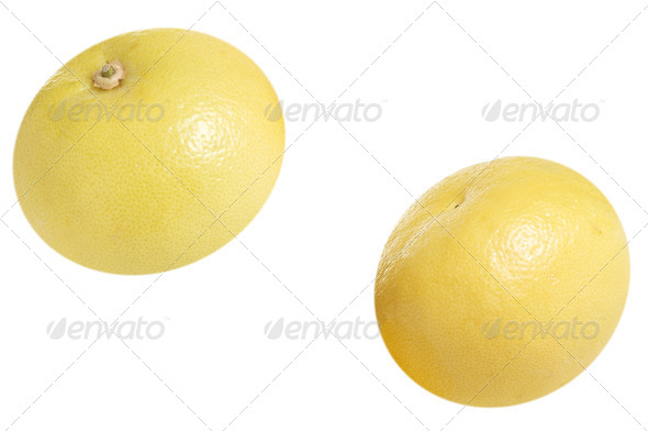 Tasty grapefruits on a white. - Stock Photo - Images