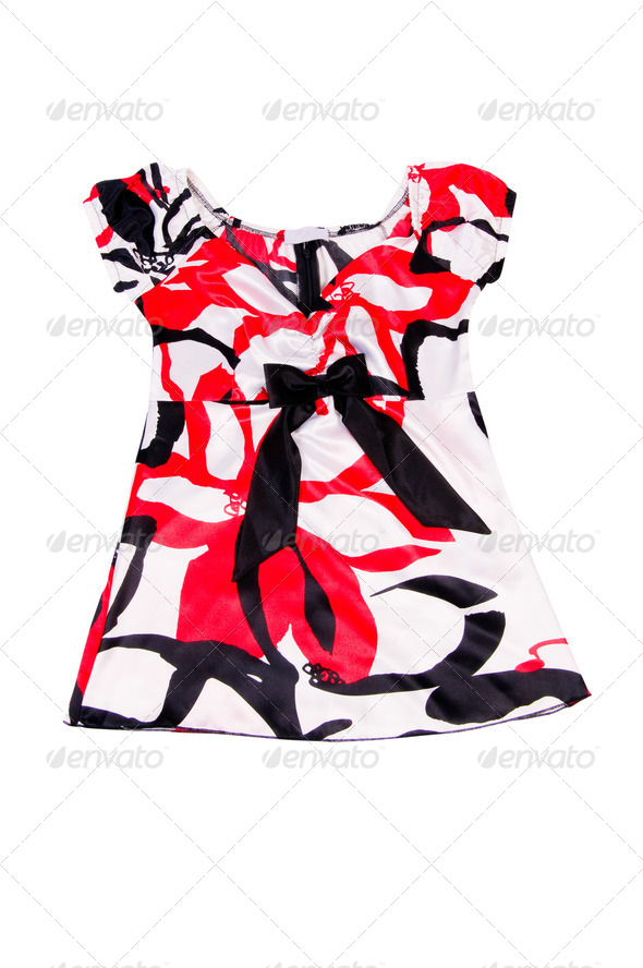 Shimmering stylish red-white dress on a white. - Stock Photo - Images