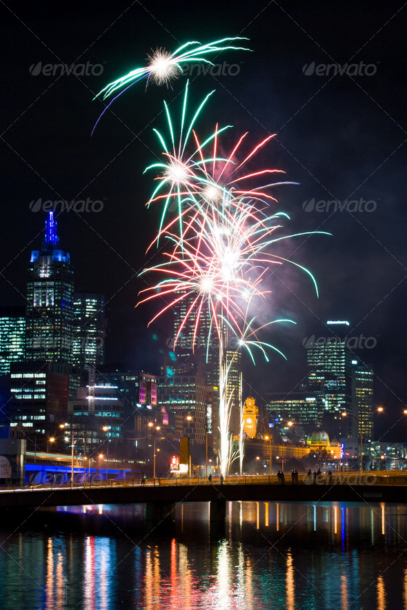Crown Casino Fireworks - Stock Photo - Images