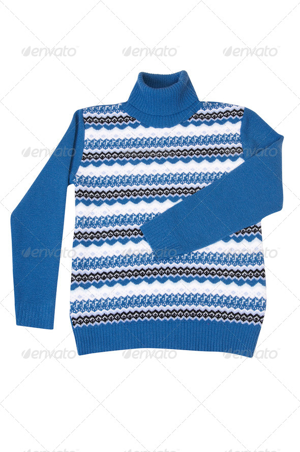 Winter stylish,blue sweater on a white. - Stock Photo - Images