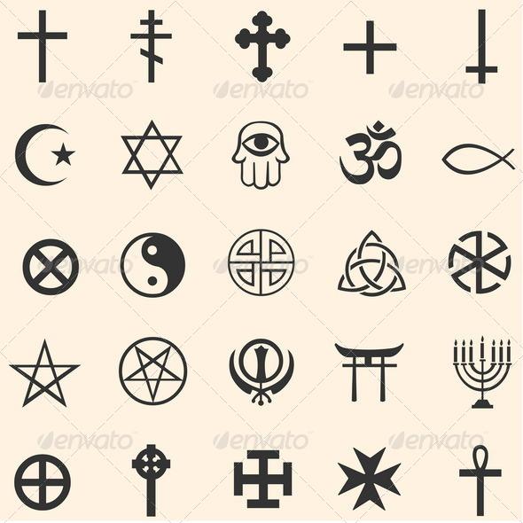 Vector Set Of Religious Symbols By Nikiteev Graphicriver