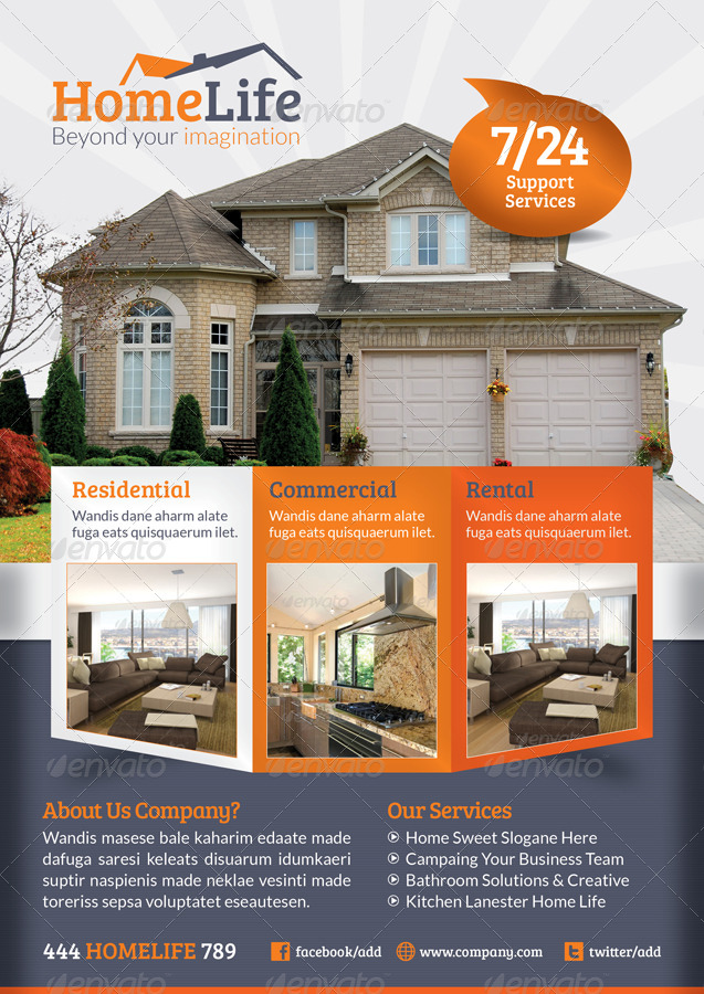 Real Estate Flyer Template By Grafilker GraphicRiver - Commercial real estate brochure template