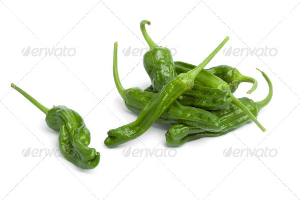 Fresh green shisito peppers - Stock Photo - Images