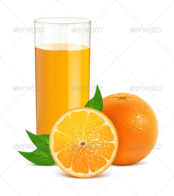 Fresh Orange with Leaves and Glass with Juice - Food Objects