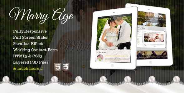 Marry Age - Responsive One Page Wedding Template - Events Entertainment