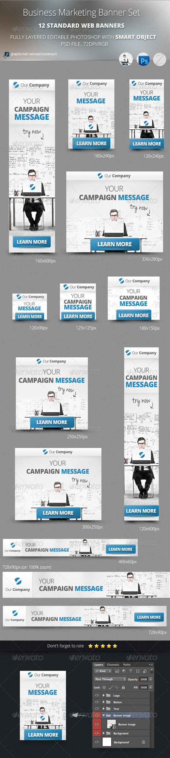 Business Marketing Banner Set - Banners & Ads Web Elements