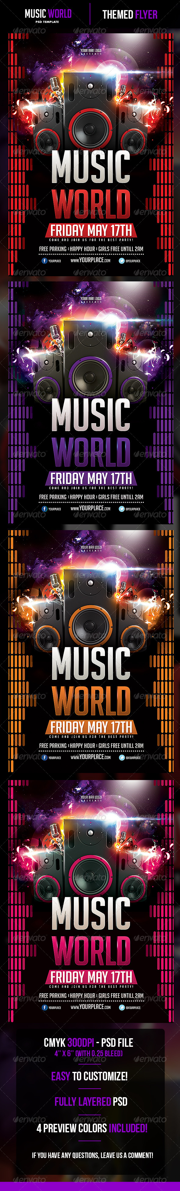 Music World Flyer Template - Clubs & Parties Events