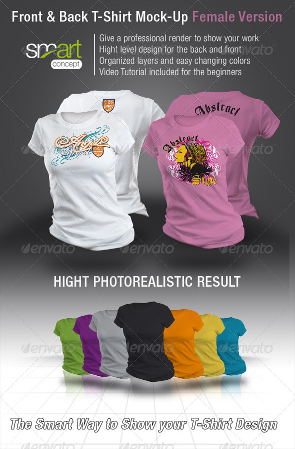 Front and Back T-Shirt Mock-Up Female Version - Product Mock-Ups Graphics