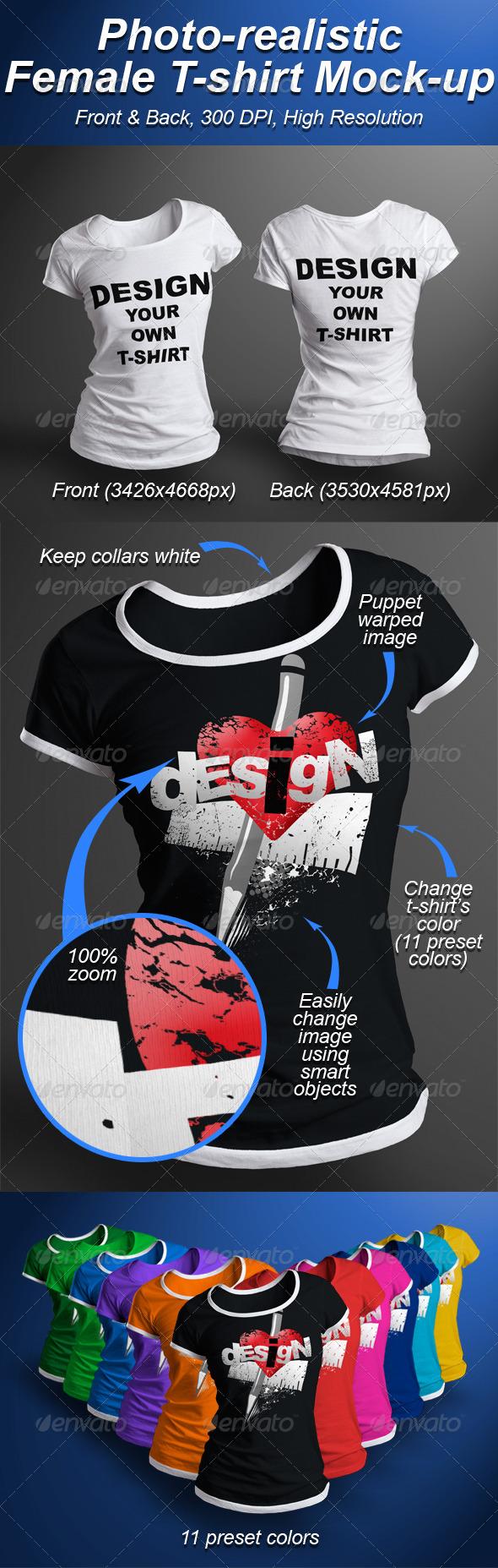 Female T-shirt Mock-up Photorealistic 3D Look