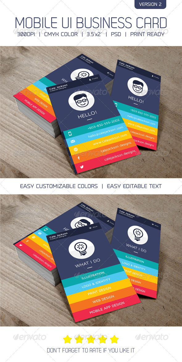 Flat mobile concept business card version 2 by artalic graphicriver flat mobile concept business card version 2 creative business cards colourmoves Choice Image