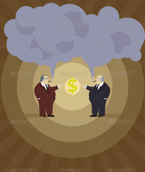 Retro Big Bosses Making Money - People Characters