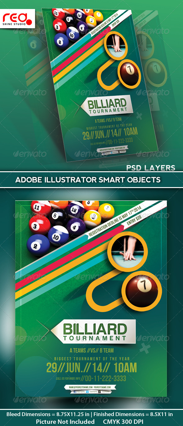 Billiard Tournament Flyer Poster Magazine Template   Sports Events  Competition Flyer Template