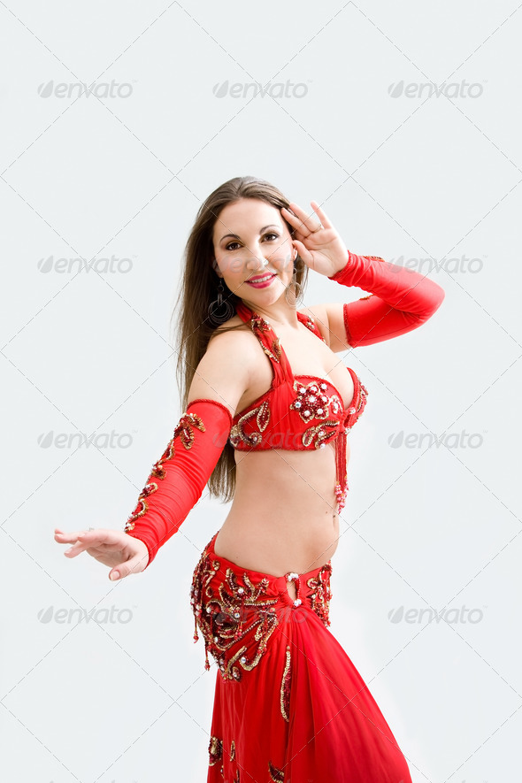 Belly dancer in red - Stock Photo - Images