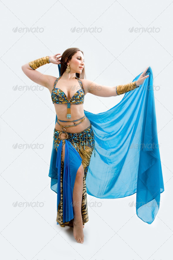 Belly dancer in blue - Stock Photo - Images