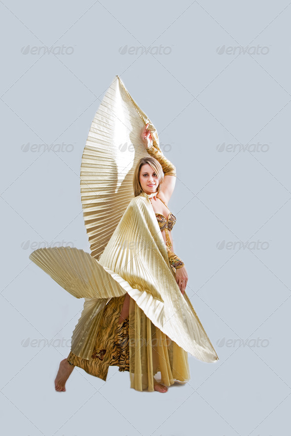 Belly dancer in gold - Stock Photo - Images