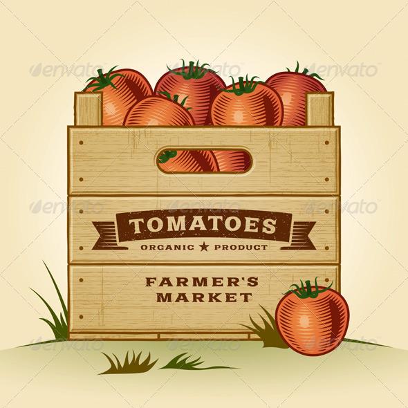 Retro Crate Of Tomatoes By Iatsun Graphicriver