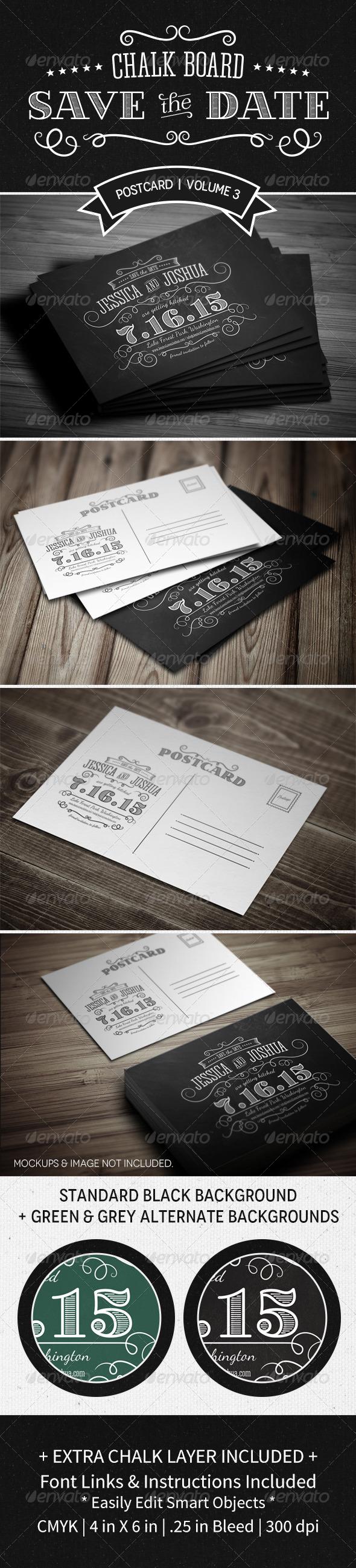 Save The Date Postcard   Volume 3   Chalkboard by MakeMediaCo ...