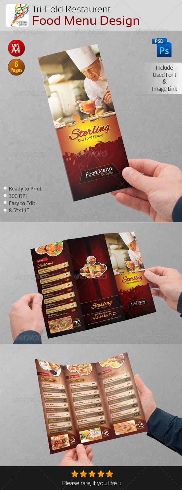 creative restaurent tri fold food menu design by contestdesign graphicriver. Black Bedroom Furniture Sets. Home Design Ideas