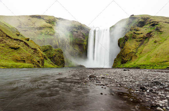Skogafoss waterfall, Iceland - Stock Photo - Images