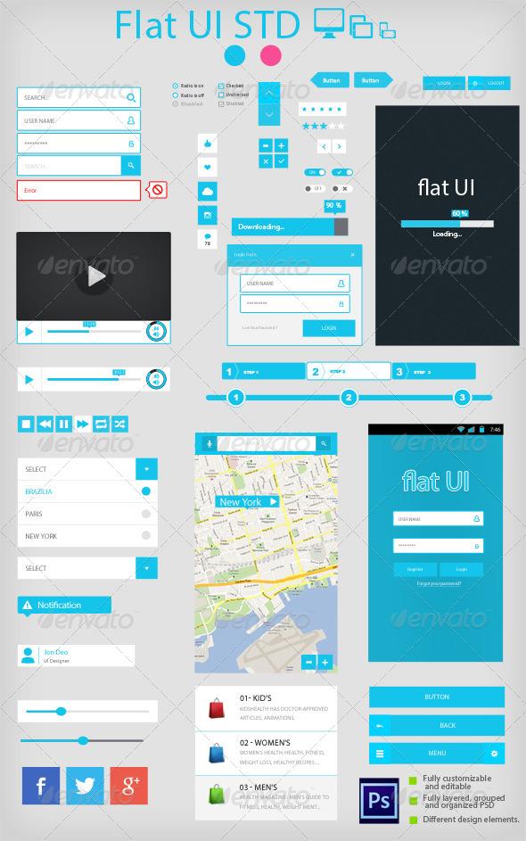 Flat UI Standard - User Interfaces Web Elements