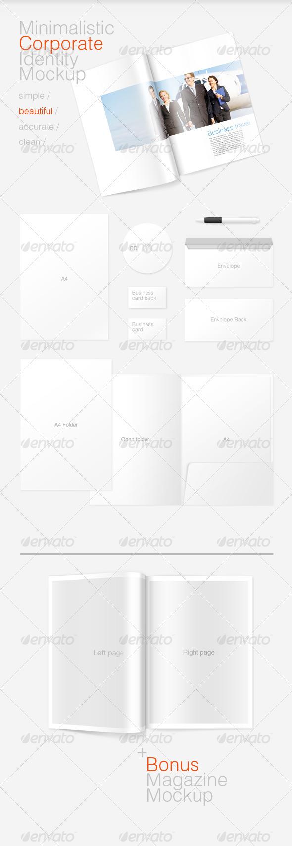 Minimal Corporate Identity and Magazine Mockup - Magazines Print