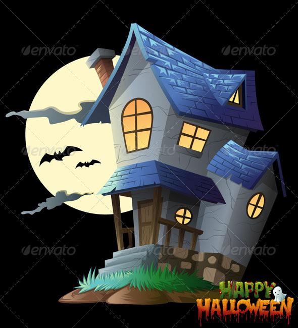 Haunted House Halloween Vector Clip Art - Halloween Seasons/Holidays