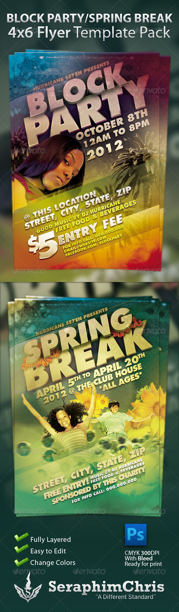 Block party and spring break flyer template pack by for Block party template flyers free