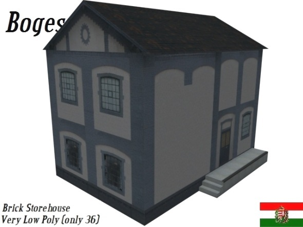 Textured Brick Store House (Low Poly) - 3DOcean Item for Sale