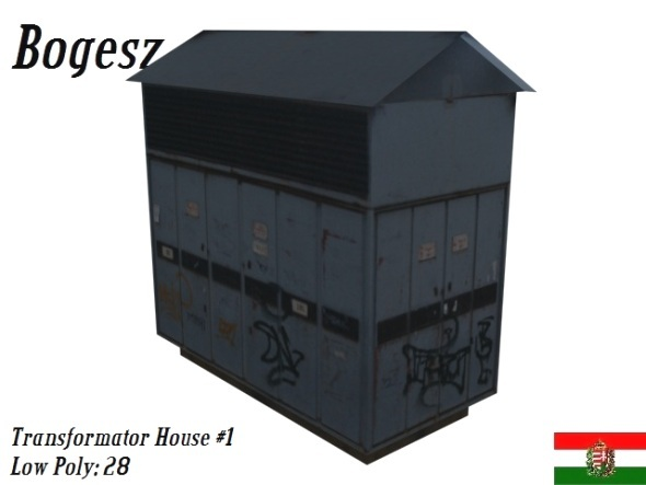 Transformator House With Graffity Texture - 3DOcean Item for Sale