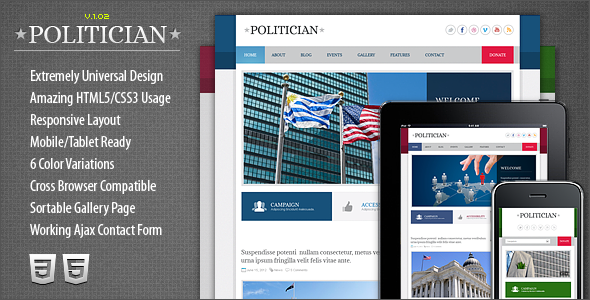Politician Responsive HTML5/CSS3 Template