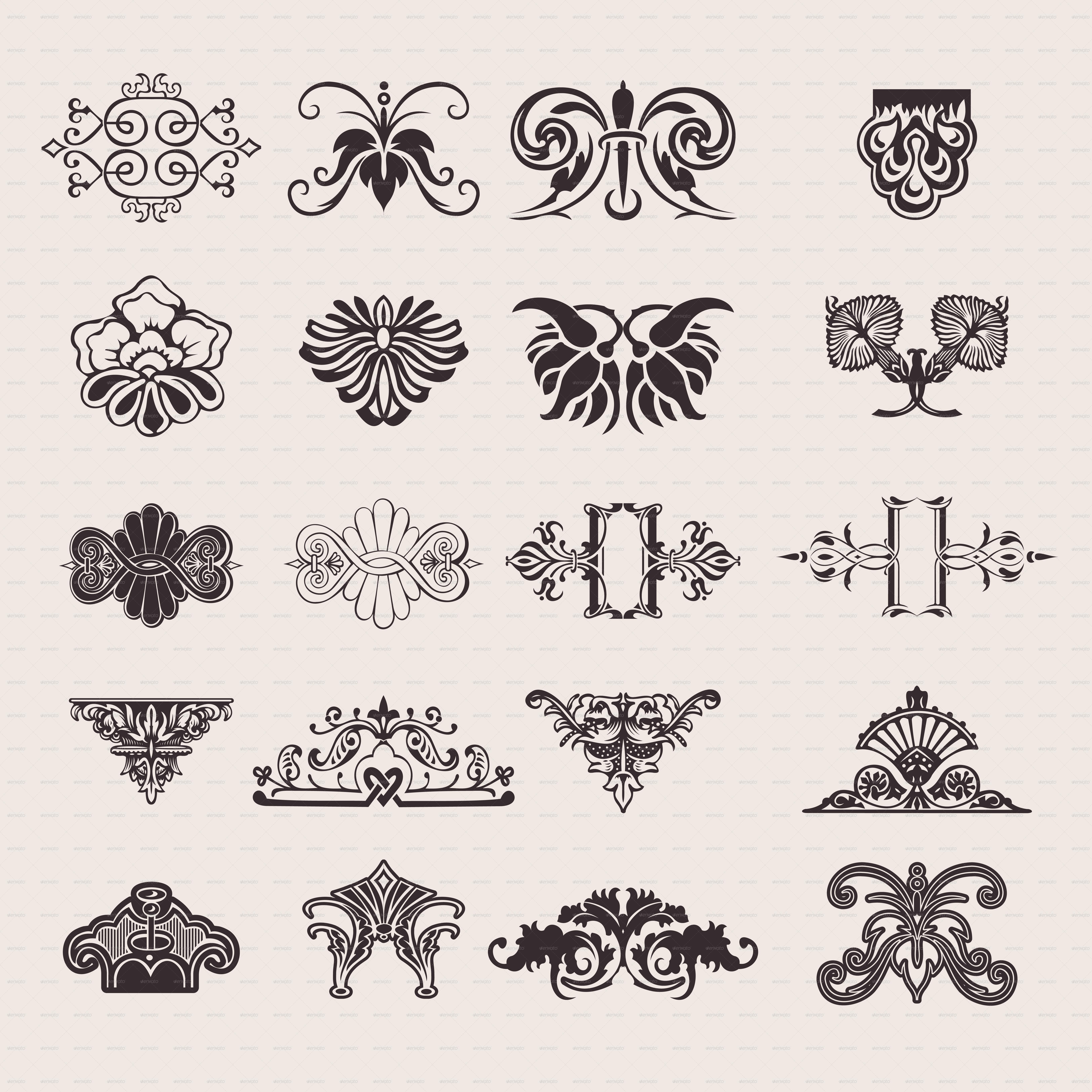 Set Of 20 One Color Ornate Design Elements