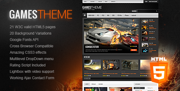 GamesTheme | Premium Non-responsive Site Template - Entertainment Site Templates